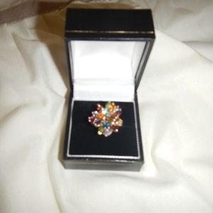 10k Gold Multi-Gem Cluster Spray Ring